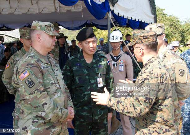 SATTAHIP CHONBURI THAILAND US and Thai military leaders speak before the ongoing USThai joint military exercise titled 'Cobra Gold' on Hat Yao beach...