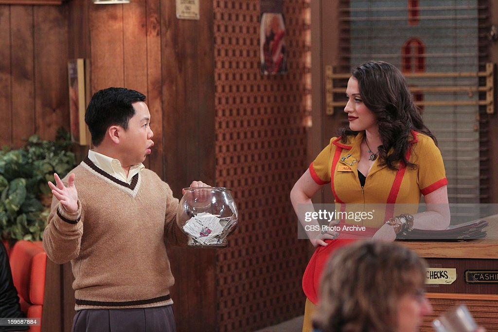 'And The Bear Truth' - A relaxing getaway for two becomes an awkward vacation for three when Max, Caroline and Andy spend a weekend together in a cabin in the woods, on 2 BROKE GIRLS, Monday, Jan. 14 (9:00-9:30 PM, ET/PT) on the CBS Television Network. Left: Han Lee (Matthew Moy), Right: Max Black (Kat Dennings).