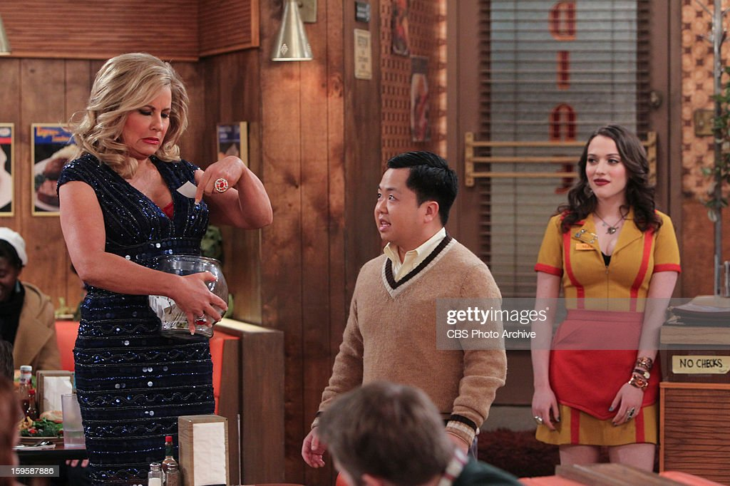 'And The Bear Truth' - A relaxing getaway for two becomes an awkward vacation for three when Max, Caroline and Andy spend a weekend together in a cabin in the woods, on 2 BROKE GIRLS, Monday, Jan. 14 (9:00-9:30 PM, ET/PT) on the CBS Television Network. Left to right: Sophie (Jennifer Coolidge), Han Lee (Matthew Moy), Max Black (Kat Dennings).