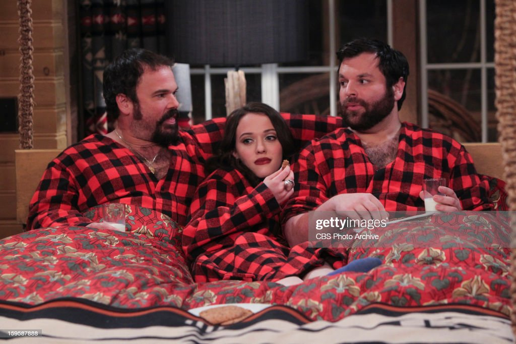 'And The Bear Truth' - A relaxing getaway for two becomes an awkward vacation for three when Max, Caroline and Andy spend a weekend together in a cabin in the woods, on 2 BROKE GIRLS, Monday, Jan. 14 (9:00-9:30 PM, ET/PT) on the CBS Television Network. From left; Dirk (Michael Dunn), Max Black (Kat Dennings) and Deke (Jeff Howard).