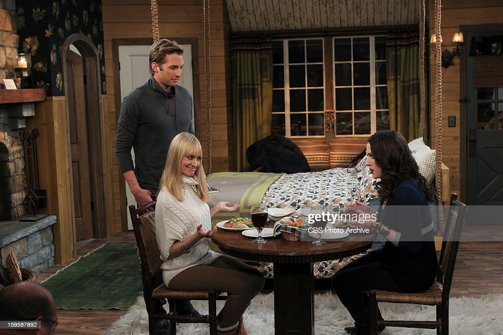 'And The Bear Truth' - A relaxing getaway for two becomes an awkward vacation for three when Max, Caroline and Andy spend a weekend together in a cabin in the woods, on 2 BROKE GIRLS, Monday, Jan. 14 (9:00-9:30 PM, ET/PT) on the CBS Television Network. Left to Right: Candy Andy (Ryan Hansen), Caroline Channing (Beth Behrs), Max Black (Kat Dennings).