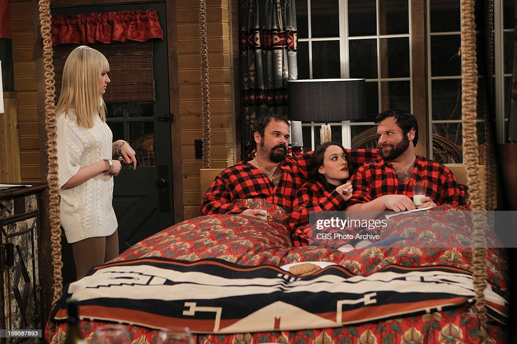 'And The Bear Truth' - A relaxing getaway for two becomes an awkward vacation for three when Max, Caroline and Andy spend a weekend together in a cabin in the woods, on 2 BROKE GIRLS, Monday, Jan. 14 (9:00-9:30 PM, ET/PT) on the CBS Television Network. Left to Right: Caroline Channing (Beth Behrs), Dirk (Michael Dunn), Max Black (Kat Dennings), Deke (Jeff Howard).
