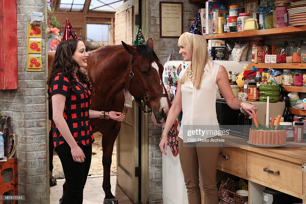 'And The Extra Work' - Max and Caroline are invited to be extras on a popular TV show shooting a scene in Han's diner, but when Caroline catches the director's eye, he offers her an actual role with strings attached, on 2 BROKE GIRLS, Monday, April 29 (9:00-9:30 PM, ET/PT) on the CBS Television Network. Max Black (Kat Dennings), Chestnut the Horse, and Caroline Channing (Beth Behrs), shown.