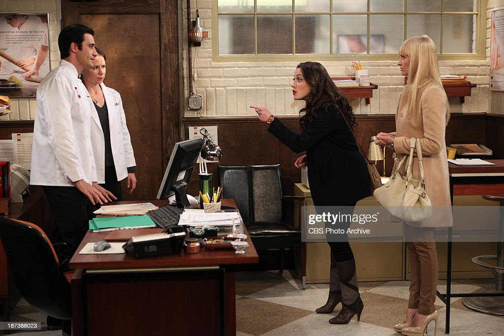 'And The Pastry Porn' -- Max wants to apply to the Manhattan School of Pastry and bakes a tart for her entrance exam airing Monday, Nov. 18 (8:30-9:00 PM, ET/PT) on the CBS Television Network. Gilles Marini, from left, Mary Lynn Rajskub, Max Black (Kat Dennings) and Caroline Channing (Beth Behrs), shown.