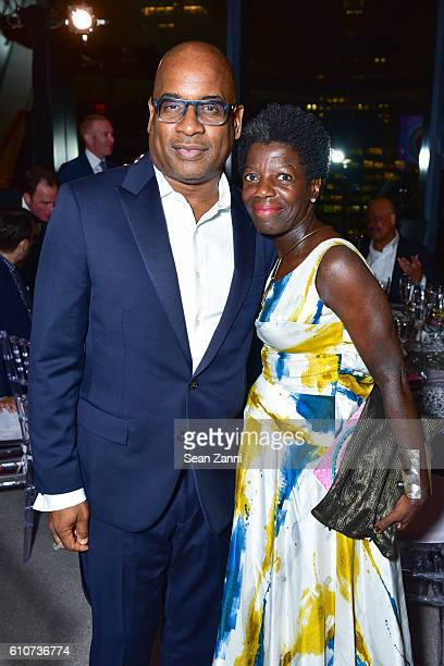and Thelma Golden attend Abstracted Black Tie Dinner Hosted by Pamela Joyner Fred Giuffrida and the Ogden Museum of Southern Art to Celebrate the...