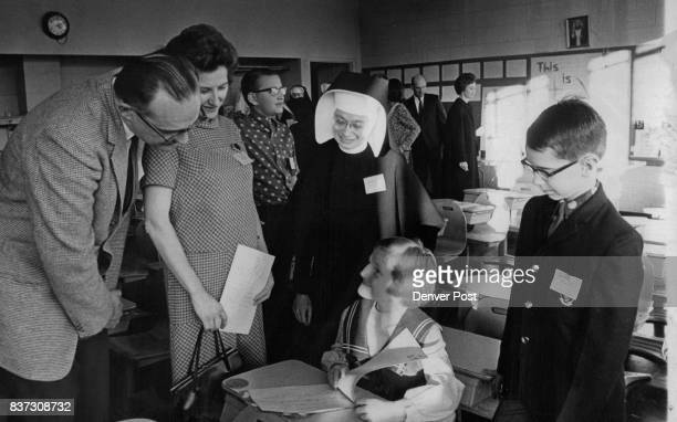 NOV 6 1966 NOV 7 1966 'And This Is What We Did In School' Kathy Gronert 7 Seated at her school desk shows her parents Dr And Mrs LG Gronert 701 Park...