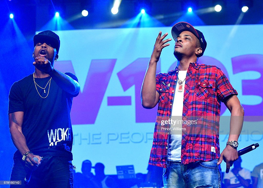B.O.B and T.I. perform at the 13th annual Bike Fest at Georgia World Congress Center on July 16, 2016 in Atlanta, Georgia.