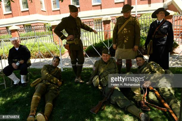 WWI and WWII army soldier reenactors from left to right Rick Swanton seated Andy Quezada Don Sygan standing Mike Foster Justin Duran standing Jason...