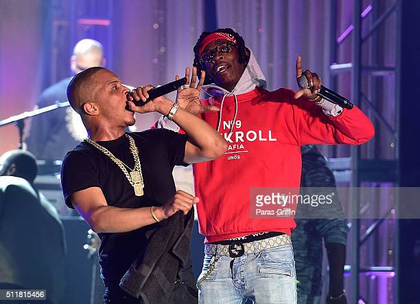 I and Young Thug perform onstage at TIDAL X TIP at Greenbriar Mall on February 22 2016 in Atlanta Georgia