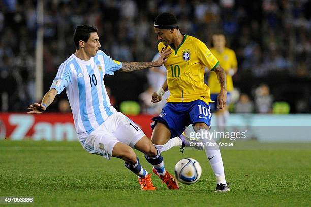 Andel Di Maria of Argentina struggles for the ball with Neymar of Brazil during a match between Argentina and Brazil as part of FIFA 2018 World Cup...