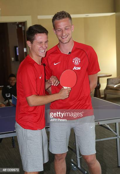 Ander Herrera and Anders Lindegaard of Manchester United play table tennis during the club's preseason tour of the USA on July 18 2015 in Seattle...