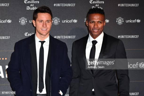Ander Herrera and Antonio Valencia attends the United for Unicef Gala Dinner at Old Trafford on November 15 2017 in Manchester England