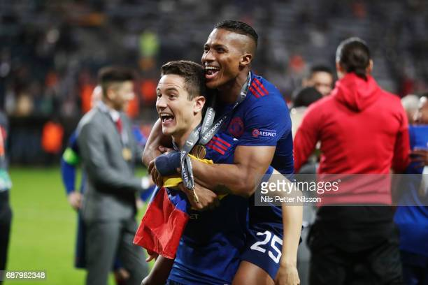 Ander Herrera and Antonio Valencia of Manchester United celebrates after the victory during the UEFA Europa League Final between Ajax and Manchester...