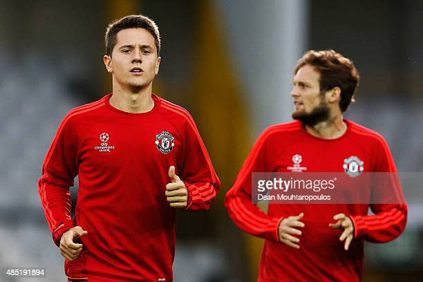 Ander Herrera and Daley Blind of Manchester United warm up during the Manchester United training session held at Jan Breydel Stadium on August 25...