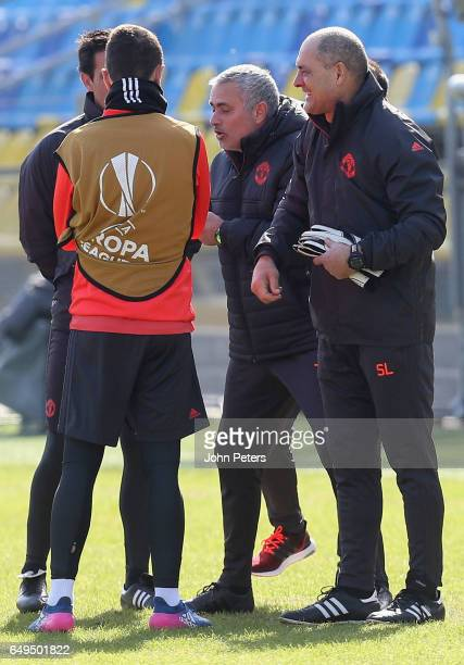 Ander Herrera and Manager Jose Mourinho of Manchester United in action during a first team training session at Olimp2 on March 8 2017 in RostovonDon...