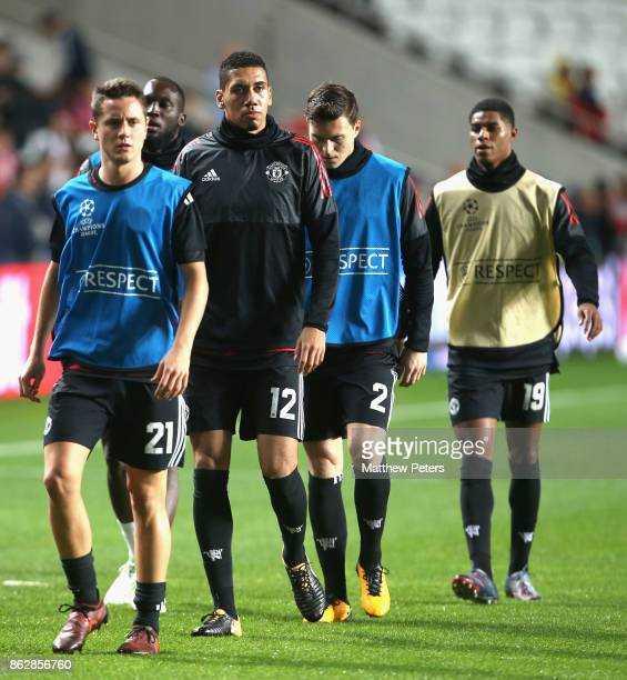 Ander Herrera Chris Smalling Victor Lindelof and Marcus Rashford of Mancester United warm up ahead of the UEFA Champions League group A match between...