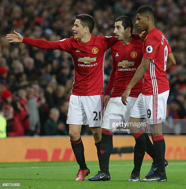 Ander Herrera Henrikh Mkhitaryan and Marcus Rashford of Manchester United celebrate Paul Pogba scoring their second goal during the Premier League...