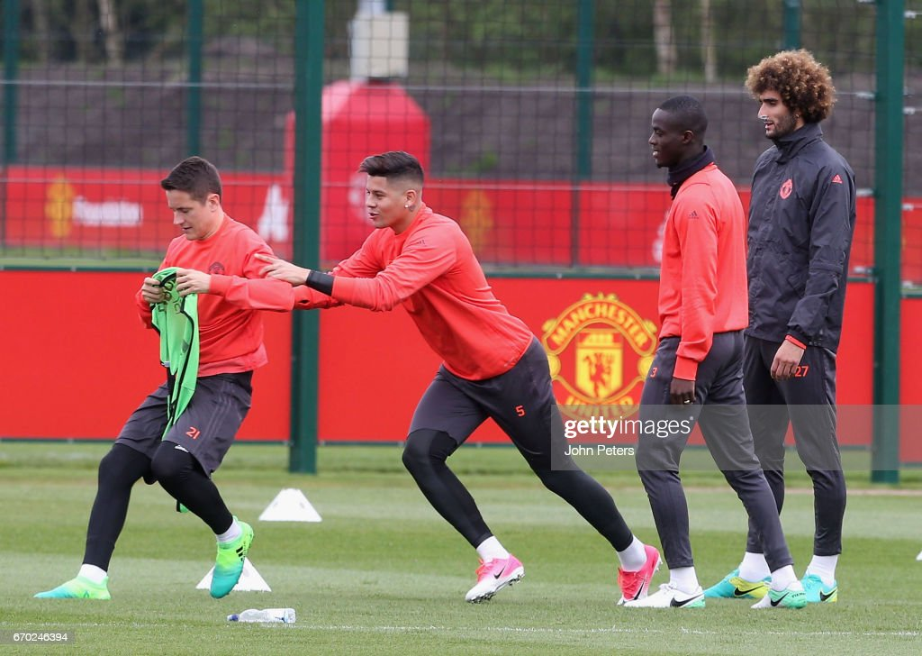 Ander Herrera, Marcos Rojo, Eric Bailly and Marouane Fellaini of Manchester United in action during a first team training session at Aon Training Complex on April 19, 2017 in Manchester, United Kingdom.