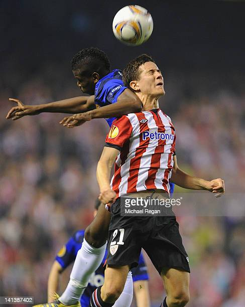 Ander Herrera of Bilbao in action with Paul Pogba of Manchester United during the UEFA Europa League Round of 16 second leg match between Manchester...