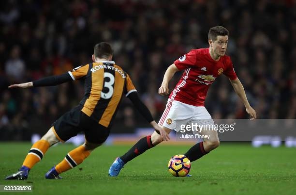 Ander Herrera of Manchester United and Andrew Robertson of Hull City in action during the Premier League match between Manchester United and Hull...