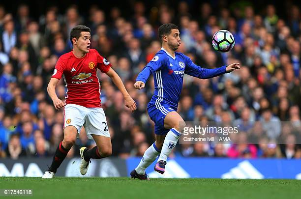 Ander Herrera of Manchester United and Eden Hazard of Chelsea during the Premier League match between Chelsea and Manchester United at Stamford...