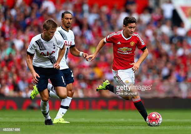 Ander Herrera of Manchester United and Eric Dier of Tottenham Hotspur compete for the ball during the Barclays Premier League match between...