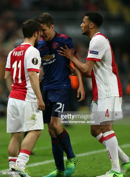 Ander Herrera of Manchester United and Jairo Riedewald of Ajax confront each other during UEFA Europa League Final match between Ajax against...