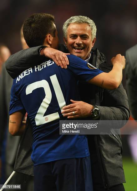 Ander Herrera of Manchester United and Jose Mourinho Manager of Manchester United embrace after the UEFA Europa League Final between Ajax and...