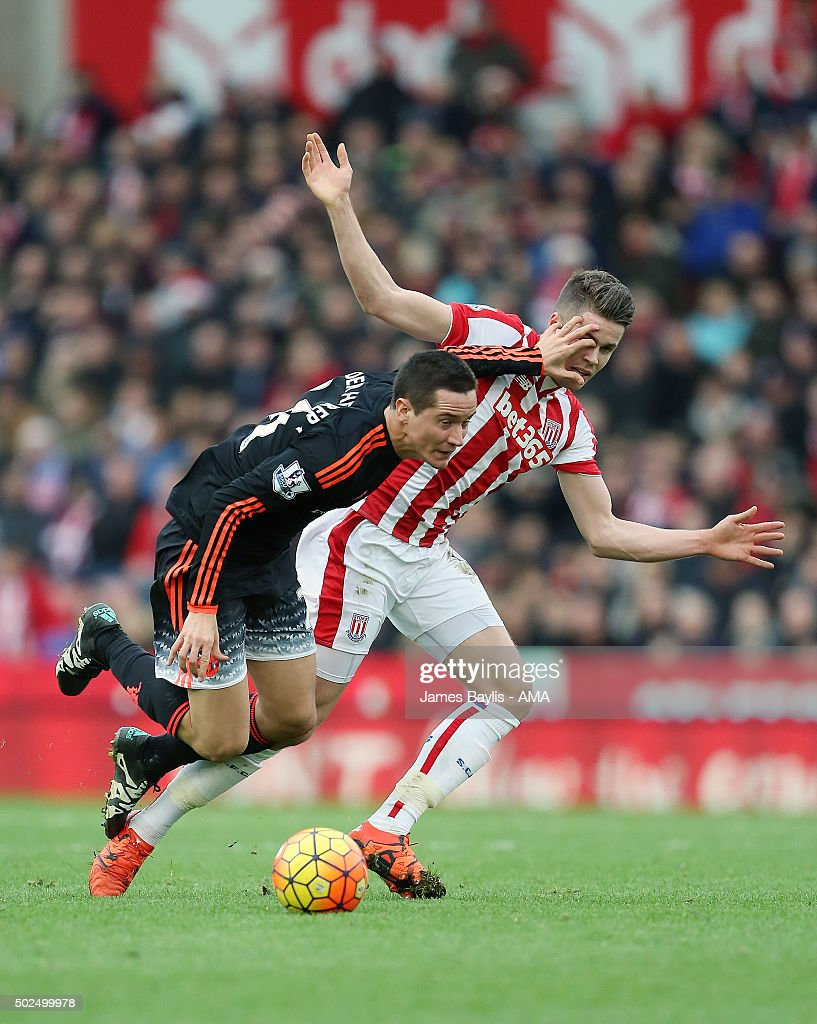 Ander Herrera of Manchester United and Marco van Ginkel of Stoke City during the Barclays Premier League match between Stoke City and Manchester United at Britannia Stadium on December 26, 2015 in Stoke on Trent, England.