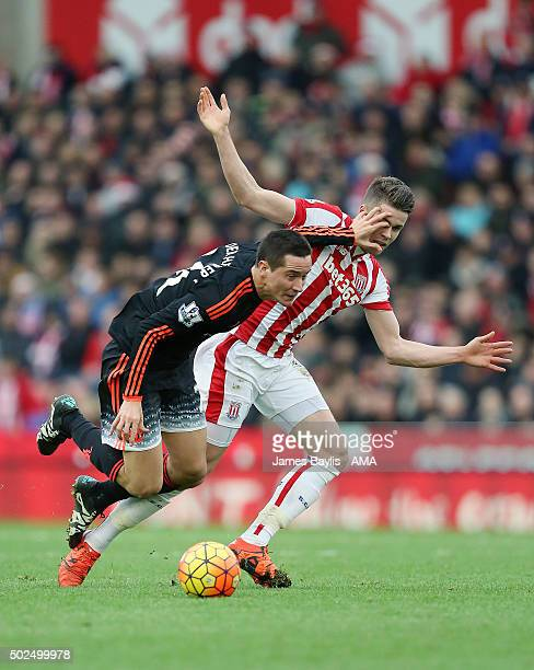 Ander Herrera of Manchester United and Marco van Ginkel of Stoke City during the Barclays Premier League match between Stoke City and Manchester...