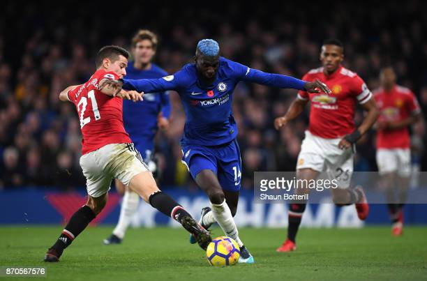 Ander Herrera of Manchester United attempts to tackles Tiemoue Bakayoko of Chelsea during the Premier League match between Chelsea and Manchester...