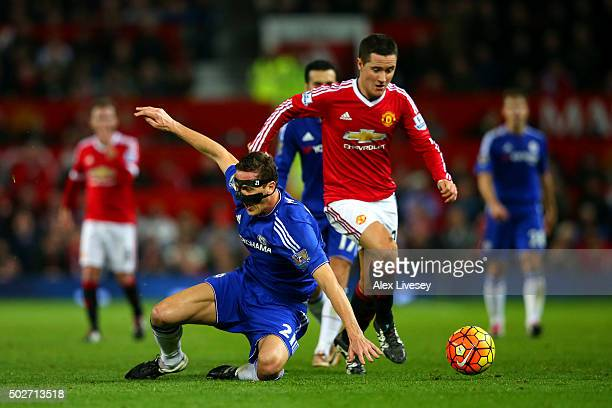 Ander Herrera of Manchester United battles for the ball with Nemanja Matic of Chelsea during the Barclays Premier League match between Manchester...