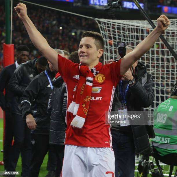Ander Herrera of Manchester United celebrate after the EFL Cup Final match between Manchester United and Southampton at Wembley Stadium on February...