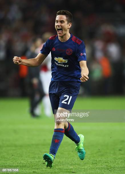 Ander Herrera of Manchester United celebrates after the UEFA Europa League Final between Ajax and Manchester United at Friends Arena on May 24 2017...