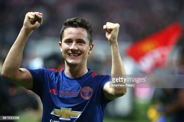 Ander Herrera of Manchester United celebrates after the UEFA Europa League Final match between Manchester United and Ajax at Friends Arena on May 24...