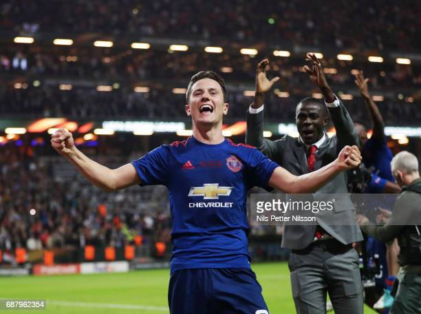 Ander Herrera of Manchester United celebrates after the victory during the UEFA Europa League Final between Ajax and Manchester United at Friends...