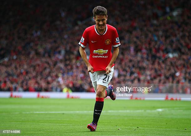 Ander Herrera of Manchester United celebrates as he scores their first goal during the Barclays Premier League match between Manchester United and...