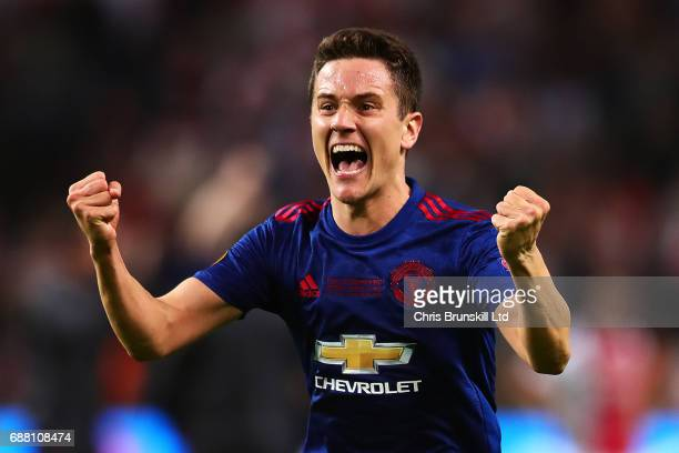 Ander Herrera of Manchester United celebrates following the UEFA Europa League Final match between Ajax and Manchester United at Friends Arena on May...