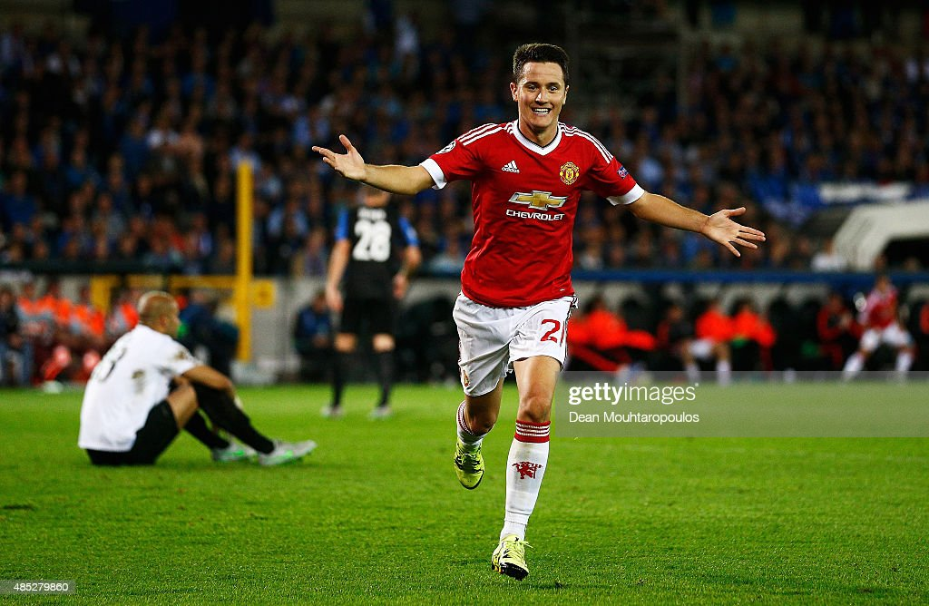 Ander Herrera of Manchester United celebrates scoring his team's fourth goal during the UEFA Champions League qualifying round play off 2nd leg match between Club Brugge and Manchester United held at Jan Breydel Stadium on August 26, 2015 in Brugge, Belgium.