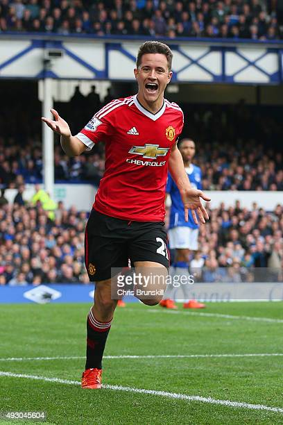 Ander Herrera of Manchester United celebrates scoring his team's second goal during the Barclays Premier League match between Everton and Manchester...