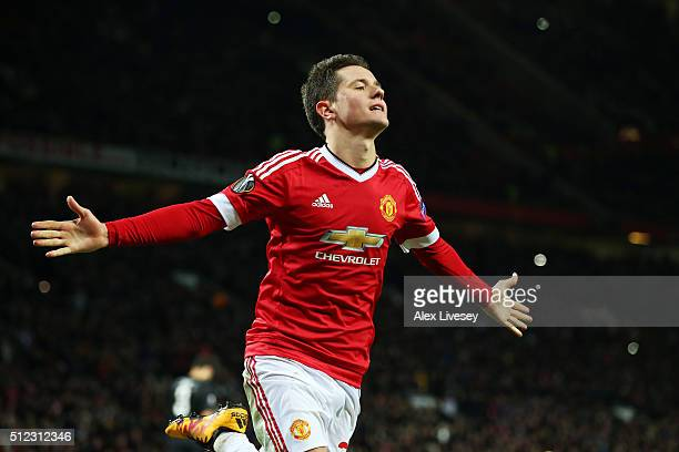 Ander Herrera of Manchester United celebrates scoring his team's fourth goal during the UEFA Europa League Round of 32 second leg match between...