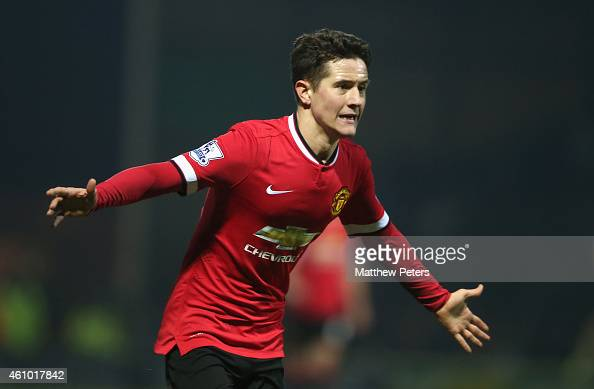 Ander Herrera of Manchester United celebrates scoring their first goal during the FA Cup Third Round match between Yeovil Town and Manchester United...