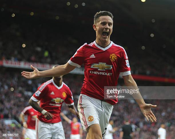 Ander Herrera of Manchester United celebrates scoring their second goalduring the Barclays Premier League match between Manchester United and...