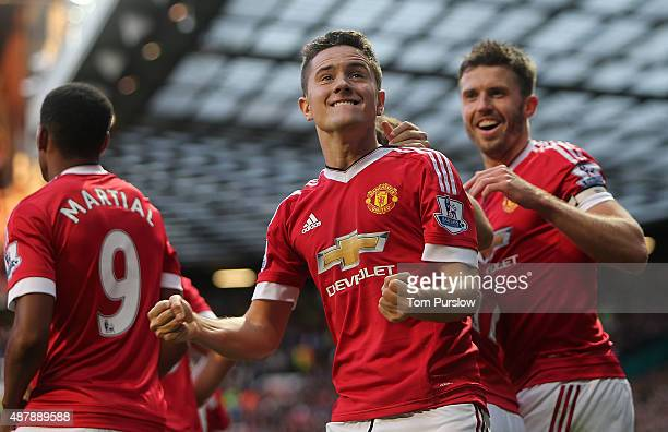 Ander Herrera of Manchester United celebrates scoring their second goal during the Barclays Premier League match between Manchester United and...