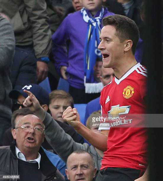 Ander Herrera of Manchester United celebrates scoring their second goal during the Barclays Premier League match between Everton and Manchester...