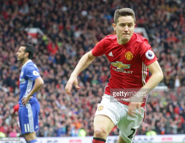 Ander Herrera of Manchester United celebrates scoring their second goal during the Premier League match between Manchester United and Chelsea at Old...