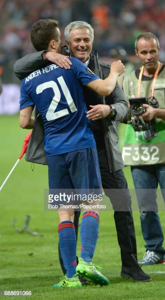Ander Herrera of Manchester United celebrates victory with manager Jose Mourinho after the UEFA Europa League final between Ajax and Manchester...