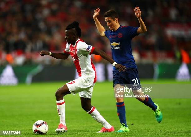 Ander Herrera of Manchester United closes down Bertrand Traore of Ajax during the UEFA Europa League Final between Ajax and Manchester United at...