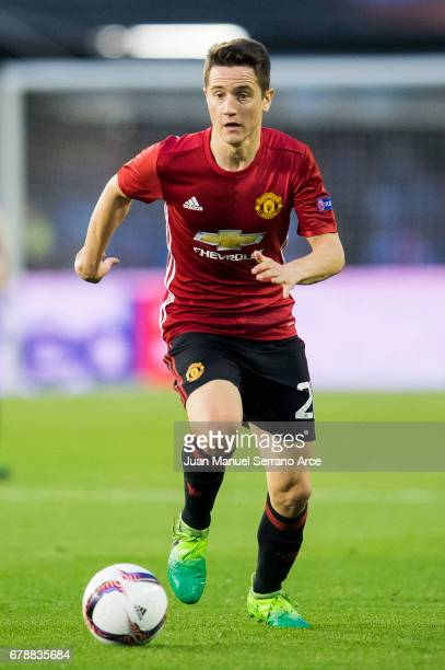 Ander Herrera of Manchester United controls the ball during the Uefa Europa League semi final first leg match between Real Club Celta De Vigo and...