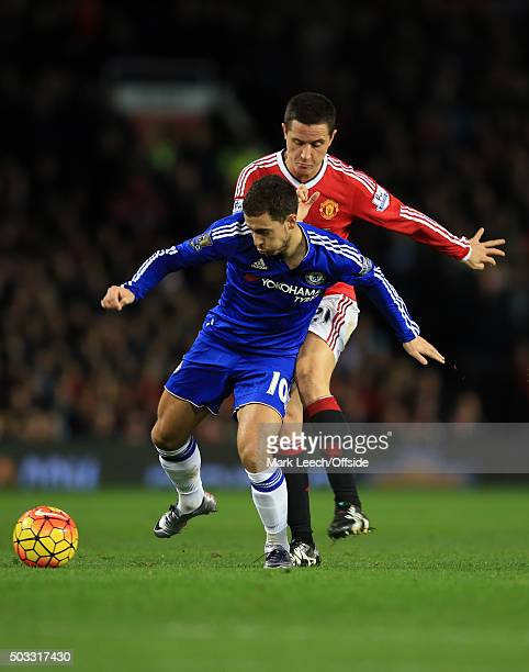Ander Herrera of Manchester United fouls Eden Hazard of Chelsea during the Barclays Premier League match between Manchester United and Chelsea at Old...